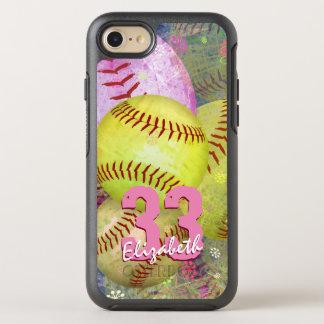 Capa Para iPhone 8/7 OtterBox Symmetry O softball brilhante cor-de-rosa de mulheres