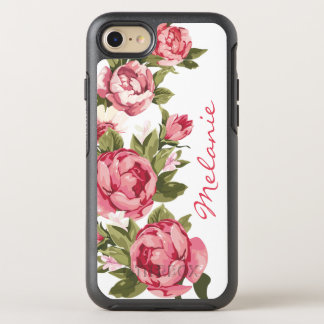 Capa Para iPhone 8/7 OtterBox Symmetry O vintage personalizado cora peônias cor-de-rosa