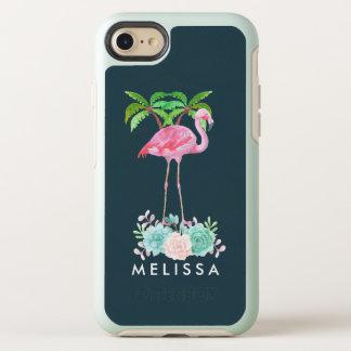 Capa Para iPhone 8/7 OtterBox Symmetry Palmeiras cor-de-rosa do flamingo e Succulents