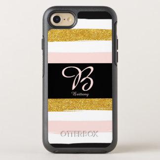 Capa Para iPhone 8/7 OtterBox Symmetry Personalize este rosa monogrammed design listrado