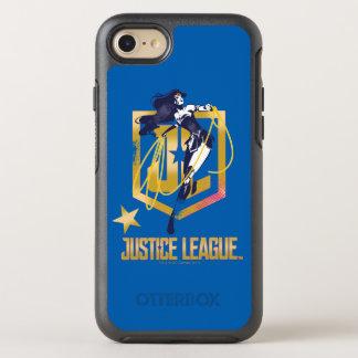Capa Para iPhone 8/7 OtterBox Symmetry Pop art do logotipo da mulher maravilha JL da liga