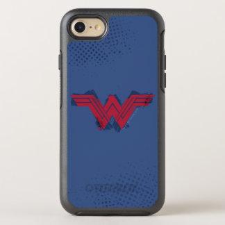 Capa Para iPhone 8/7 OtterBox Symmetry Símbolo escovado   da mulher maravilha da liga de