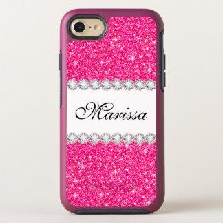 Capa Para iPhone 8/7 OtterBox Symmetry Sparkles cor-de-rosa à moda do branco do brilho