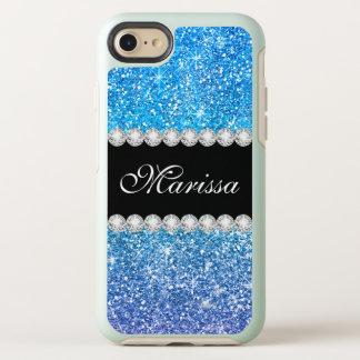 Capa Para iPhone 8/7 OtterBox Symmetry Sparkles roxos azuis de Ombre do brilho do Aqua
