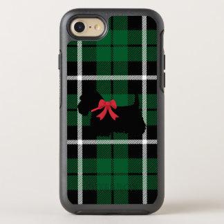 Capa Para iPhone 8/7 OtterBox Symmetry Terrier escocês da xadrez verde de Kelly com arco