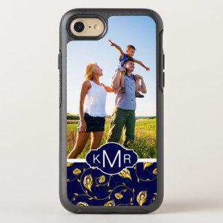Capa Para iPhone 8/7 OtterBox Symmetry Teste padrão azul escuro do pavão do monograma |
