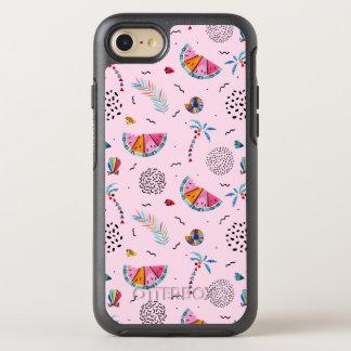 Capa Para iPhone 8/7 OtterBox Symmetry Teste padrão cor-de-rosa tropical do estilo de