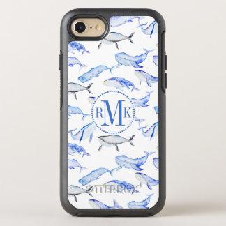 Capa Para iPhone 8/7 OtterBox Symmetry Teste padrão da baleia azul da aguarela