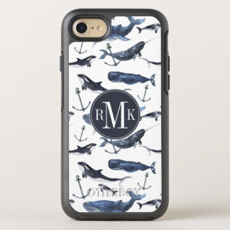 Capa Para iPhone 8/7 OtterBox Symmetry Teste padrão da baleia & da âncora da aguarela