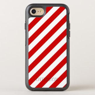 Capa Para iPhone 8/7 OtterBox Symmetry Teste padrão diagonal vermelho e branco das