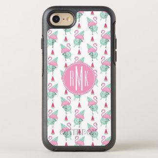 Capa Para iPhone 8/7 OtterBox Symmetry Teste padrão do Pastel do flamingo & da melancia