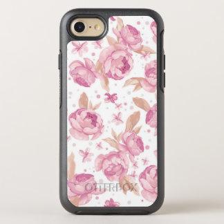 Capa Para iPhone 8/7 OtterBox Symmetry Teste padrão floral cor-de-rosa elegante