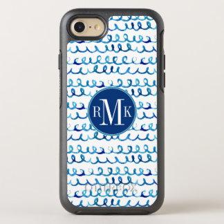 Capa Para iPhone 8/7 OtterBox Symmetry Teste padrão ondulado da aguarela azul pintado mão