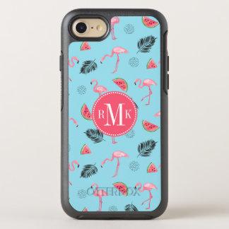 Capa Para iPhone 8/7 OtterBox Symmetry Teste padrão tropical na moda do flamingo & da