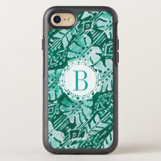 Capa Para iPhone 8/7 OtterBox Symmetry Tropical verde havaiano da SELVA IKAT do monograma