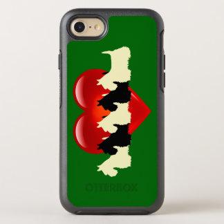 Capa Para iPhone 8/7 OtterBox Symmetry Verde da ilha, cão de Terrier do Scottish, coração
