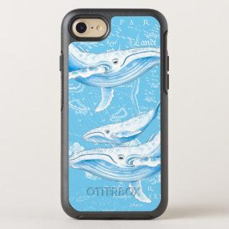 Capa Para iPhone 8/7 OtterBox Symmetry Vintage da família das baleias azuis