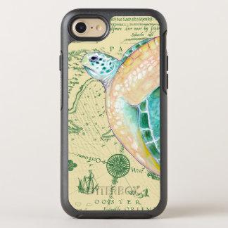 Capa Para iPhone 8/7 OtterBox Symmetry Vintage do mapa de Tan da tartaruga de mar