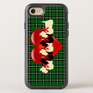 Capa Para iPhone 8/7 OtterBox Symmetry Xadrez verde da ilha, Scottish Terrier, coração
