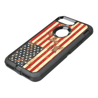 Capa Para iPhone 8 Plus/7 Plus OtterBox Defender A antiguidade oxidou a bandeira americana EUA
