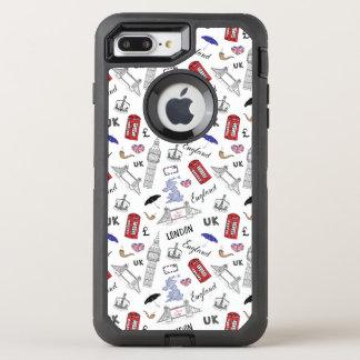 Capa Para iPhone 8 Plus/7 Plus OtterBox Defender A cidade de Londres Doodles o teste padrão
