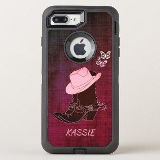 Capa Para iPhone 8 Plus/7 Plus OtterBox Defender A vaqueira carreg a borboleta Borgonha do chapéu