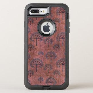 Capa Para iPhone 8 Plus/7 Plus OtterBox Defender Árvores laçado azuis no vermelho do Grunge