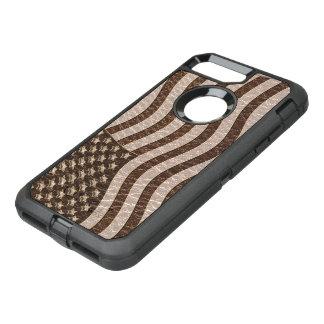 Capa Para iPhone 8 Plus/7 Plus OtterBox Defender Bandeira dos EUA do Couro-Olhar macia