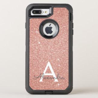 Capa Para iPhone 8 Plus/7 Plus OtterBox Defender Brilho do ouro do rosa do rosa e monograma da