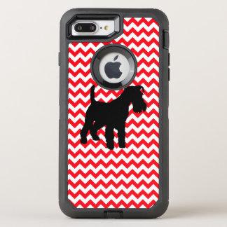 Capa Para iPhone 8 Plus/7 Plus OtterBox Defender Carro de bombeiros Chevron vermelho com Schnauzer
