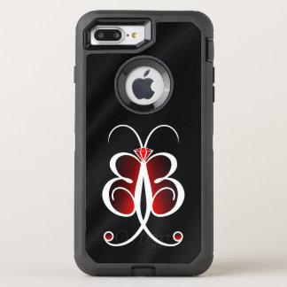 Capa Para iPhone 8 Plus/7 Plus OtterBox Defender Cetim ou seda lunática vermelha do preto da