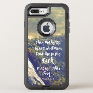 Capa Para iPhone 8 Plus/7 Plus OtterBox Defender Conduza-me ao verso da bíblia dos salmos da rocha