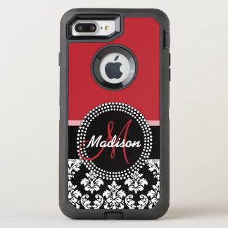 Capa Para iPhone 8 Plus/7 Plus OtterBox Defender Cor damasco preta vermelha, seu monograma