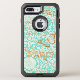 Capa Para iPhone 8 Plus/7 Plus OtterBox Defender Design do ouro de Paris do vintage com borboleta