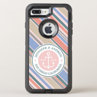Capa Para iPhone 8 Plus/7 Plus OtterBox Defender Do rosa na moda das listras da âncora do monograma