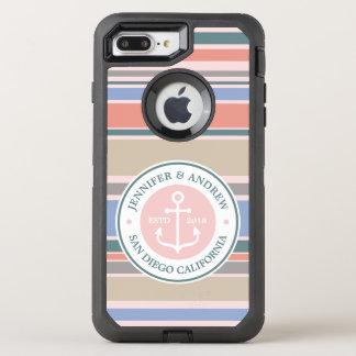 Capa Para iPhone 8 Plus/7 Plus OtterBox Defender Do rosa na moda das listras do monograma da âncora