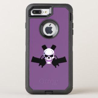 Capa Para iPhone 8 Plus/7 Plus OtterBox Defender Dois pistolas & crânios, caixa roxa de Otterbox