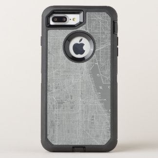 Capa Para iPhone 8 Plus/7 Plus OtterBox Defender Esboço do mapa da cidade de Chicago