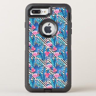 Capa Para iPhone 8 Plus/7 Plus OtterBox Defender Flamingo & palmas no teste padrão geométrico
