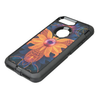 Capa Para iPhone 8 Plus/7 Plus OtterBox Defender Flor Alaranjado-Azul bonita da orquídea do anjo do