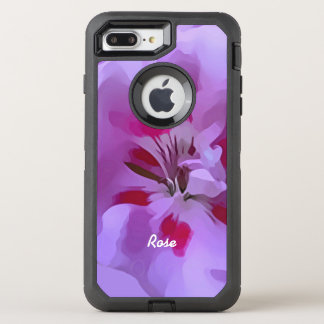 Capa Para iPhone 8 Plus/7 Plus OtterBox Defender Flor violeta do hibiscus do abstrato do rosa