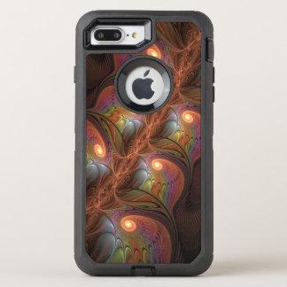 Capa Para iPhone 8 Plus/7 Plus OtterBox Defender Fractal moderno abstrato fluorescente colorido de