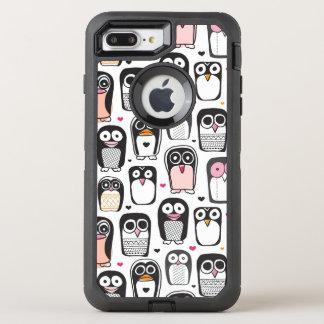 Capa Para iPhone 8 Plus/7 Plus OtterBox Defender fundo da ilustração do pássaro do pinguim