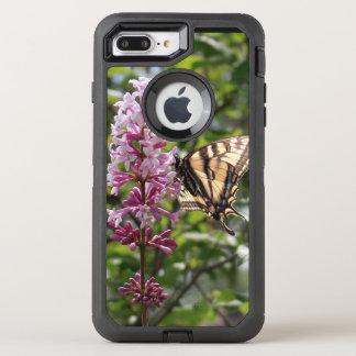 Capa Para iPhone 8 Plus/7 Plus OtterBox Defender Lilac da lavanda com borboleta do tigre