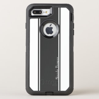 Capa Para iPhone 8 Plus/7 Plus OtterBox Defender Listras de competência brancas e pretas feitas sob