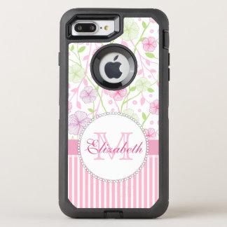 Capa Para iPhone 8 Plus/7 Plus OtterBox Defender Listras do rosa Pastel, do roxo, das flores, as
