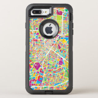 Capa Para iPhone 8 Plus/7 Plus OtterBox Defender Mapa de néon de Houston, Texas |