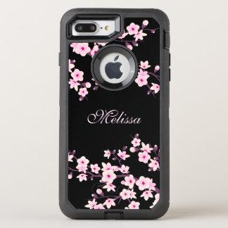 Capa Para iPhone 8 Plus/7 Plus OtterBox Defender Monograma floral do rosa do preto da flor de