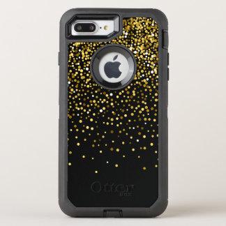 Capa Para iPhone 8 Plus/7 Plus OtterBox Defender Monograma Glam preto do costume dos confetes do