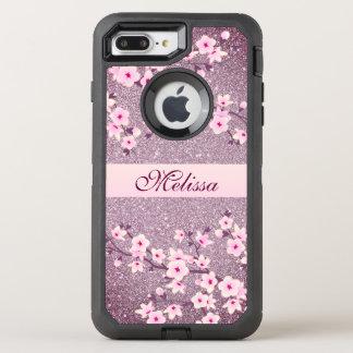 Capa Para iPhone 8 Plus/7 Plus OtterBox Defender Monograma malva de Bling da flor de cerejeira